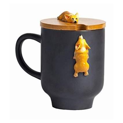 black corgi mug with bamboo lid
