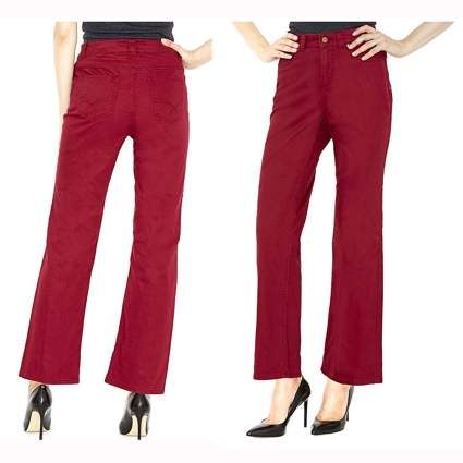red control top straight leg pants