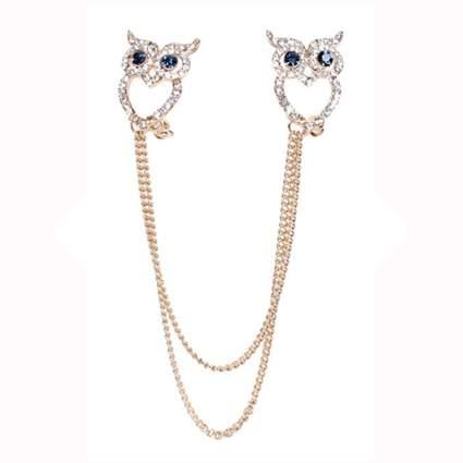 crystal studded owl cardigan clip