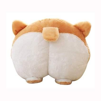 brown and white corgi butt throw pillow