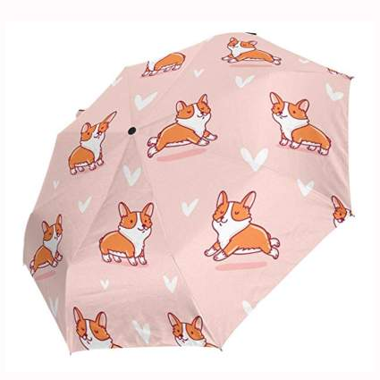 pink corgi print foldable travel umbrella