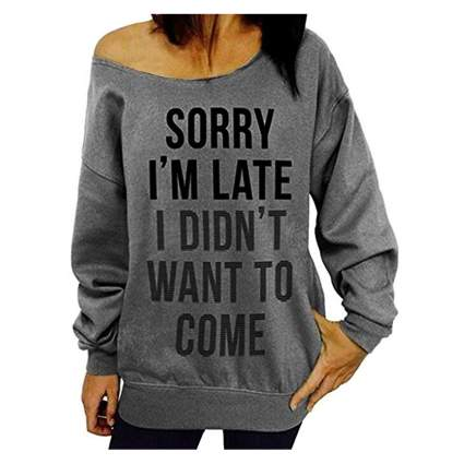 grey sorry I'm late off the shoulder sweater