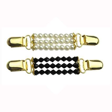 faux pearl and black crystal gold tone cardigan clips
