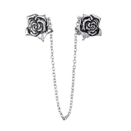 silver tone vintage rose cardigan clip