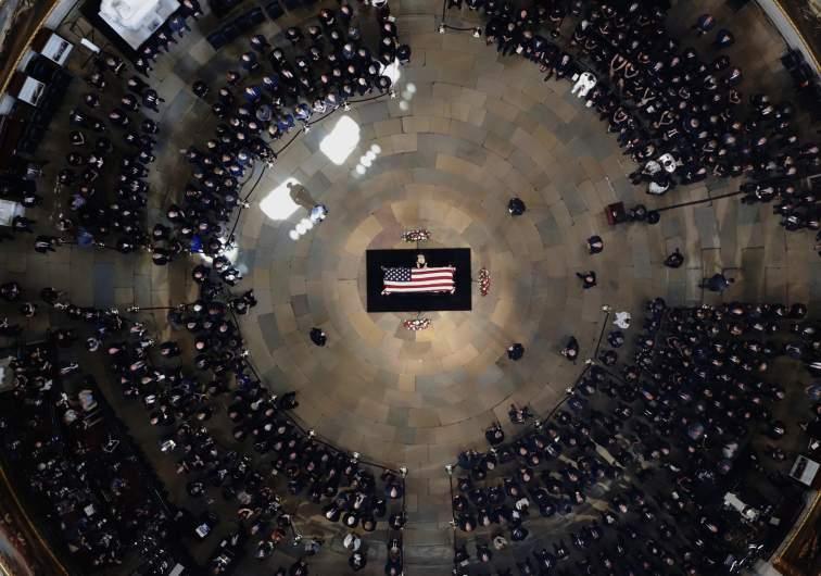 The late U.S. Sen. John McCain, R-Ariz., lies in state