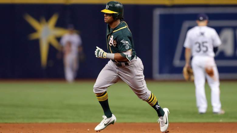 Khris Davis #2 of the Oakland Athletics