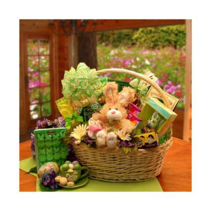 Woven basket with candy and plush bunny