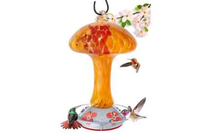 Grateful Gnome Hand Blown Glass Hummingbird Feeder
