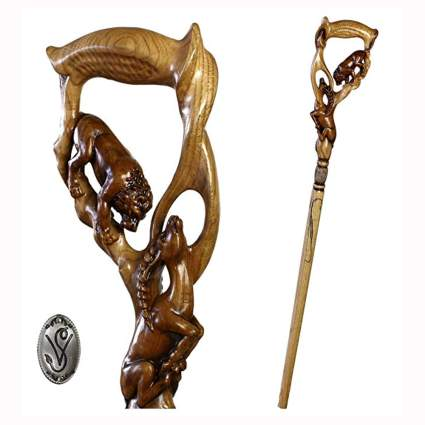 hand carved lion and impala walking stick