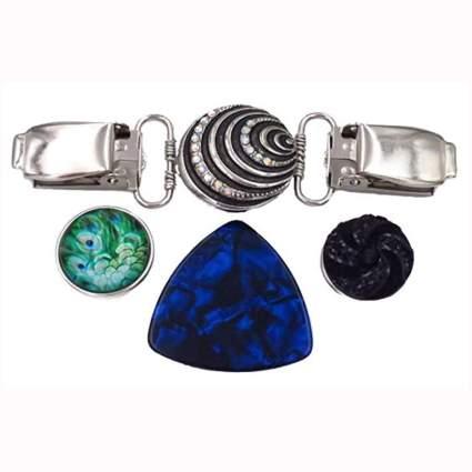 interchangeable stone silver cardigan clip set