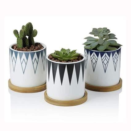 inverted triangle design succulent pots