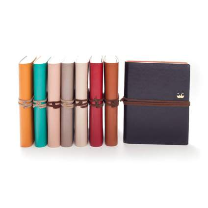 Jstory Simple Plain Vintage Style Leather String Closure Blank Organizer Notebook One Size Green