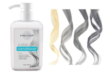 Bottle of Keracolor conditioner with blond to grey hair