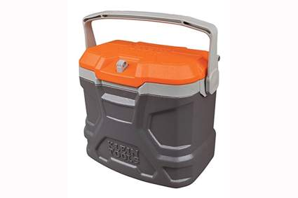 gray and orange hard side lunch cooler