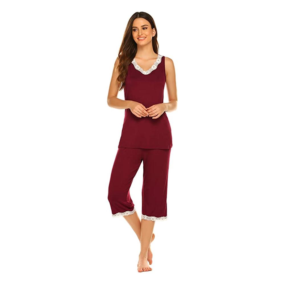 NREALY PJ Womens Pajama Set Short Sleeve Sleepwear Sets Bamboo Tank and Shorts Set(XL, Pink)