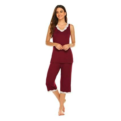 red bamboo capri pajamas
