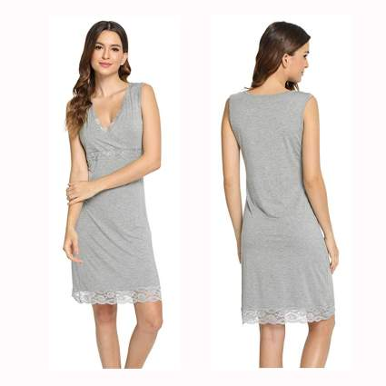 gray v-neck lace trimmed bamboo nightgown