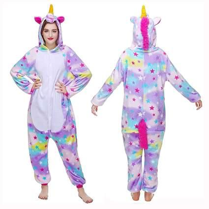 adult unicorn onesie with stars