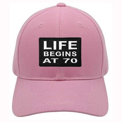 pink life begins at 70 ball cap