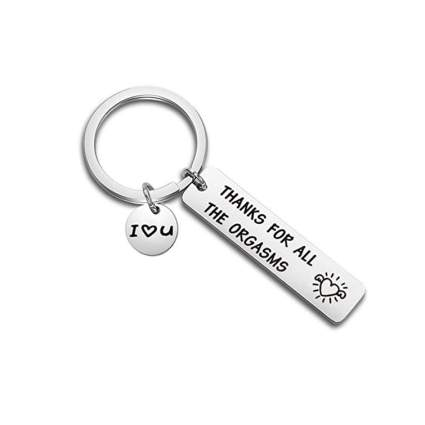 Silver I love you keychain