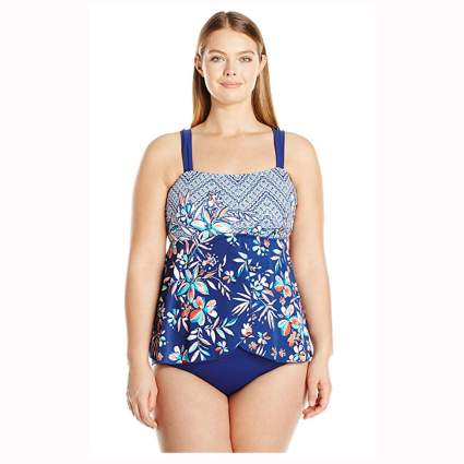 blue floral flyaway tankini one piece swimsuit