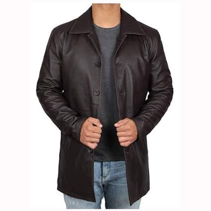 dark brown distressed lambskin leather jacket