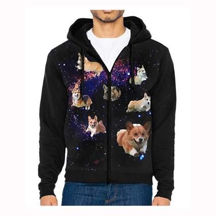 men's black space corgis zipper hoodie