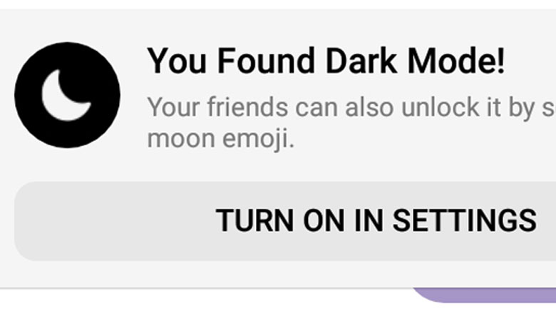 Messenger Dark Mode Moon Emoji