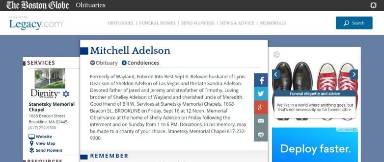 Mitchell Adelson Obituary Screenshot