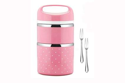 pink polka dot insulated bento lunch jar