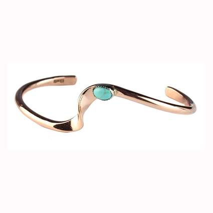 wavy copper bracelet with turquoise stone