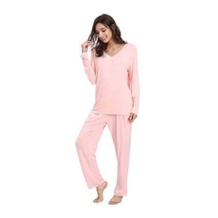 pink sating trimmed bamboo pajamas