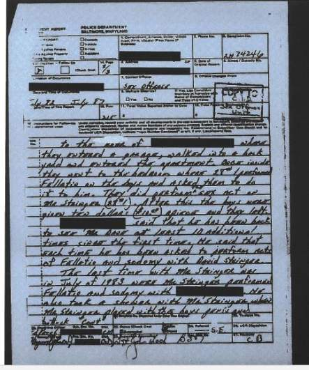 Page 1 of the 1983 police report detailing the David Stringer investigatio
