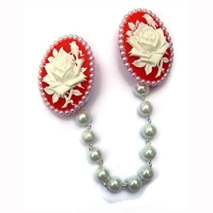 red and white rose cameo cardigan clip