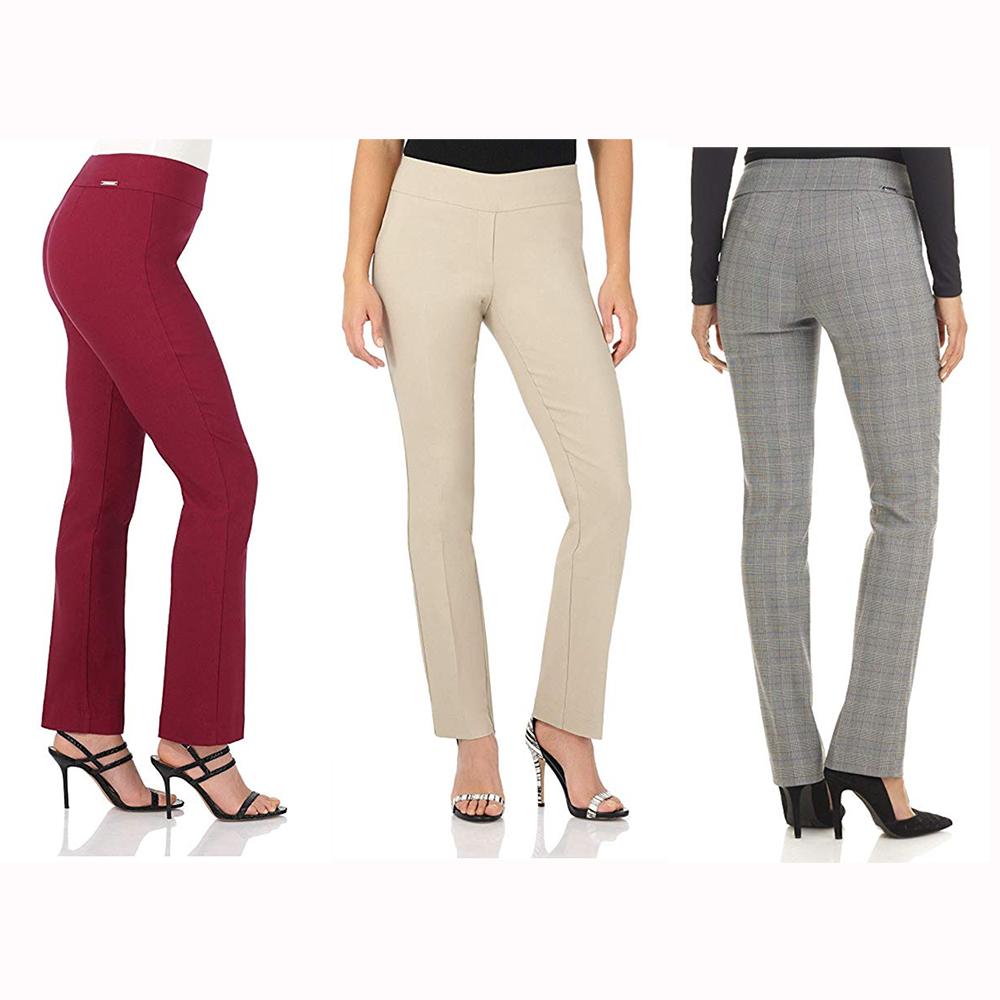 FEDULK Womens Trousers High Waist Tummy Control Slim Fit Stretch Skinny Leggings Pants Plus Size XL-6XL