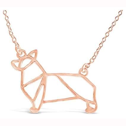rose gold tone corgi necklace
