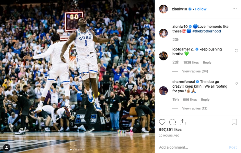 Zion Williamson Instagram Ja Morant comment