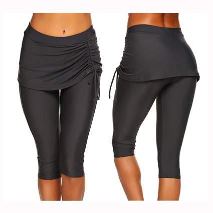 gray skirted capri length swim leggings