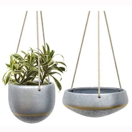 silver galvanized ceramic hanging succulent planters