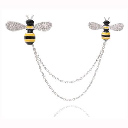 silver tone crystal and enamel bee cardigan clips