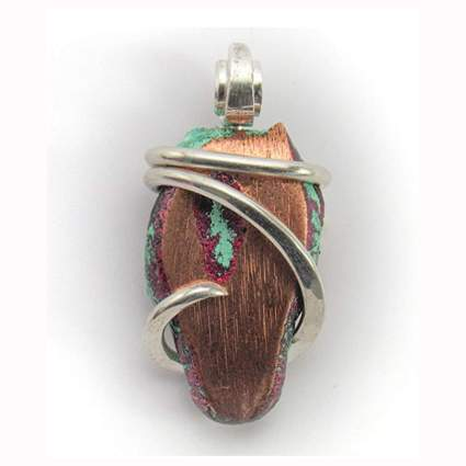 silver and copper wrapped stone pendant