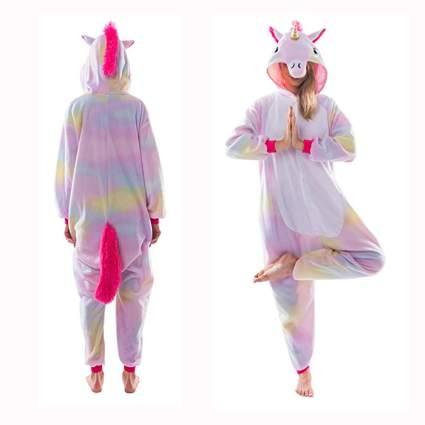 pastel rainbow adult unicorn onesie