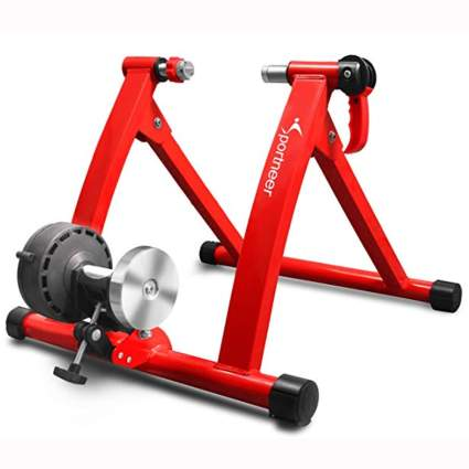 red magnetic bike trainer stand