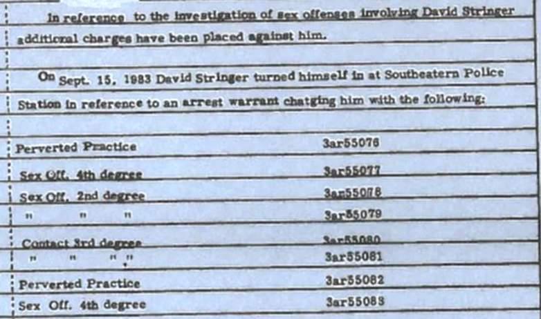 David Stringer 1983 charges