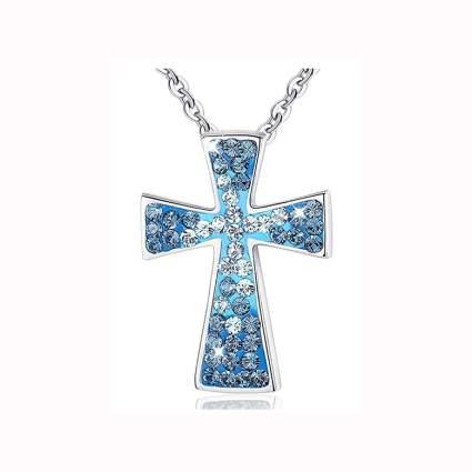 bluew swarovski crystal studded cross necklace
