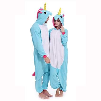 blue unisex unicorn onesie pajamas