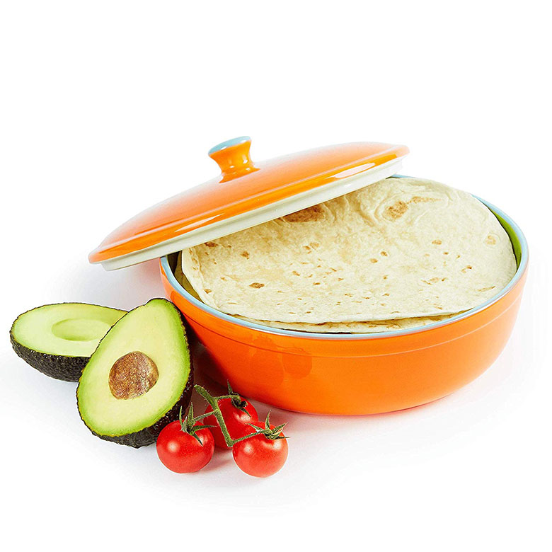 """Tortilla Warmer 9/"""" Microwave Safe Tortilla Keeper w// Lid Flat Bread,pita,flour"""