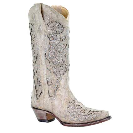 Glitter Inlay & Crystals Pull-On Cowboy Boots