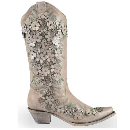 Floral Overlay Embroidered Stud and Crystals Cowgirl Boot