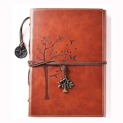 vintage leather lined journal
